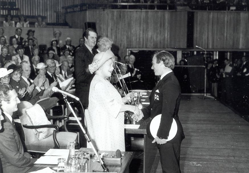 1984 Her Majesty The Queen Mother presents the Institution's Bronze Medal to Portaferry lifeboat's Chief Helmsman, Desmond Rogers